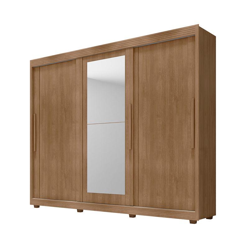Guarda-Roupa-de-Casal-Milao-100--Mdf-Com-Espelho-3-Portas-de-Correr-Lanza