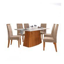 Conjunto de Mesa e Cadeiras Sorella em MDF e MDP 6 Lugares Dj Móveis