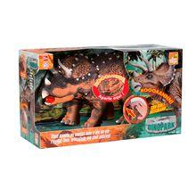 Dinossauro de Brinquedo Triceratops Articulável com Som Rotobrinq