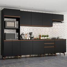 Cozinha Completa Madesa Reims 320002 com Armário e Balcão Preto