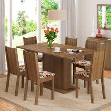 Conjunto Sala de Jantar Madesa Megan Mesa Tampo de Madeira com 6 Cadeiras Rustic/Floral Hibiscos