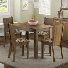 Conjunto Sala de Jantar Madesa Rute Mesa Tampo de Madeira com 4 Cadeiras Rustic/Bege Marrom