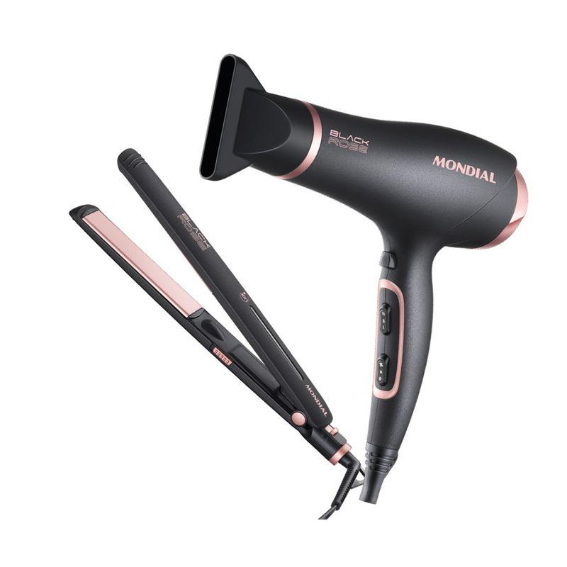 Kit-Secador-e-Chapinha-Black-Rose-Line-Mondial