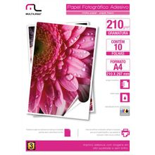 Papel Fotográfico Multilaser Adesivo 210G/M2 A4 C/ 10 Fls - PE007