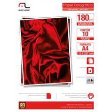 Papel Multilaser Fotográfico Glossy A4 180G/M2 10Fls - PE030