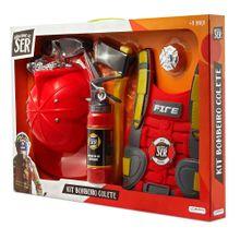 Brincando de Ser Kit Bombeiro Colete Indicado para + 3 anos Vermelho Multikids - BR963
