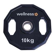 Anilha Poliuretano Furacao Olímpica 12 Faces com Pegada 10kg Wellness - WK016