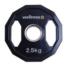 Anilha Poliuretano Furacão Olímpica 12 Faces com Pegada 2,50kg Wellness - WK017