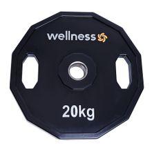 Anilha Poliuretano Furacao Olímpica 12 Faces com Pegada 20kg Wellness - WK018