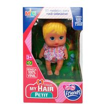 Boneca My Hair Petit Friends em Vinil Milk Brinquedos