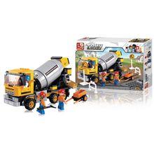 Blocos de Montar Construção Caminhão Betoneira 296 Peças Indicado para +6 Anos Material Plástico Colorido Multikids - BR829