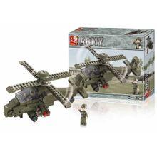 Blocos de Montar Land Force Modelo Helicóptero 199 Peças Indicado para +6 Anos Verde Musgo Multikids - BR906