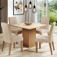 Sala de Jantar Madesa Evelin Mesa Tampo de Vidro com 4 Cadeiras Rustic/Crema/Imperial