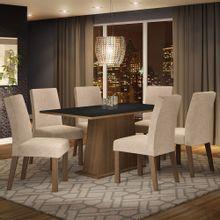Conjunto Sala de Jantar Madesa Luciana Mesa Tampo de Madeira com 6 Cadeiras Rustic/Preto/Imperial