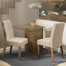 Conjunto Sala de Jantar Madesa Luli Mesa Tampo de Vidro com 2 Cadeiras Rustic/Imperial