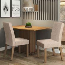 Conjunto Sala de Jantar Madesa Manu Mesa Tampo de Madeira com 2 Cadeiras Rustic/Imperial