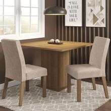 Conjunto Sala de Jantar Madesa Tai Mesa Tampo de Madeira com 2 Cadeiras Rustic/Imperial