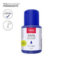 Tinta Reabastecedora p/ Marcador Permanente 20ml Azul - Caixa c/ 12un Keep - MR046