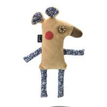 Brinquedo De Pelúcia Para  Gatos Ratinho Cavalheiro Bege Mimo - PP236