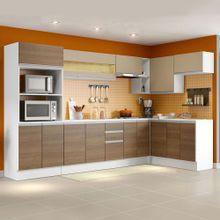 Armário de Cozinha Completa de Canto Madesa Smart 100 MDF Modulada Branco/Rustic/Crema