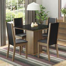 Conjunto Sala de Jantar Moscou Plus Madesa Mesa Tampo de Vidro com 4 Cadeiras Rustic/Preto