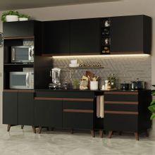 Cozinha Completa Madesa Reims 270002 com Armário e Balcão Preto