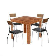 Conjunto Mesa de Jantar Quadrada Paola com 04 Cadeiras Native em MDP Carraro