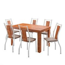 Conjunto Mesa de Jantar Retangular com 06 Cadeiras Paola Carraro
