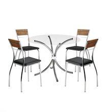 Conjunto Mesa de Jantar Circular Leticia com 04 Cadeiras Native Carraro